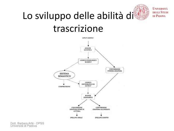 Lo sviluppo delle abilità di trascrizione
