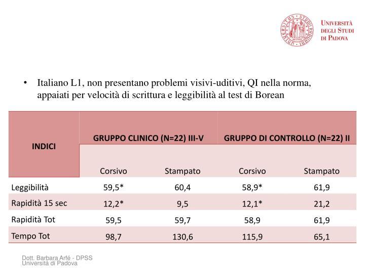 Italiano L1, non presentano problemi visivi-uditivi, QI nella norma, appaiati per velocità di scrittura e leggibilità al test di Borean