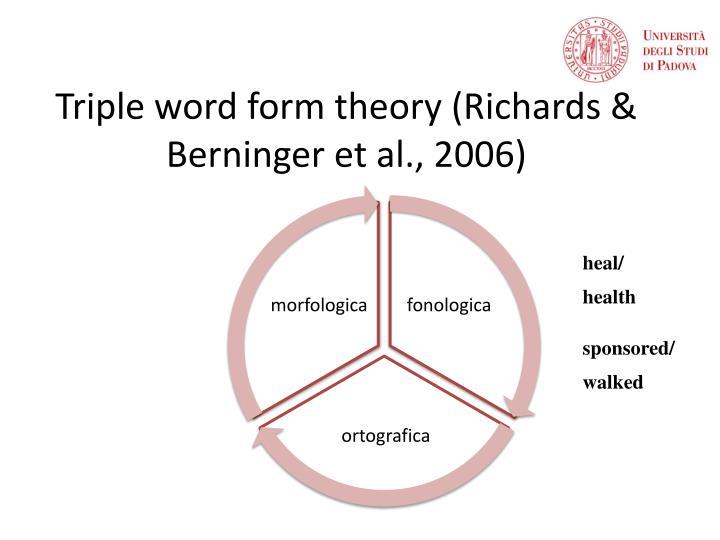 Triple word form theory (Richards & Berninger et al., 2006)