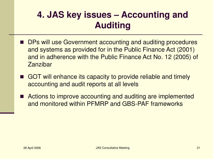 4. JAS key issues – Accounting and Auditing
