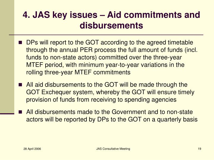 4. JAS key issues – Aid commitments and disbursements