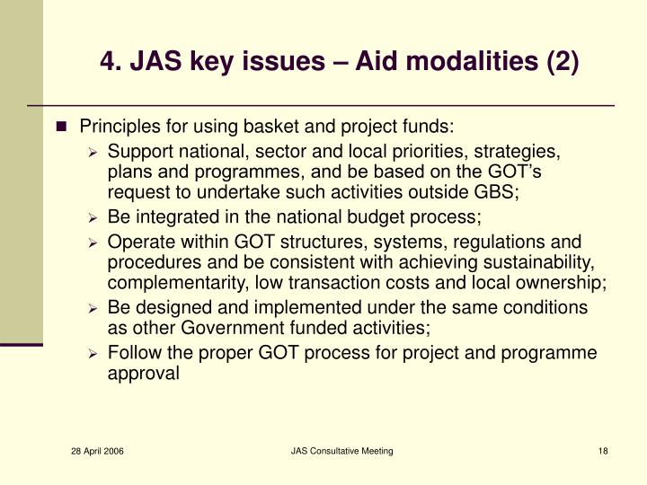 4. JAS key issues – Aid modalities (2)