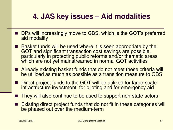 4. JAS key issues – Aid modalities
