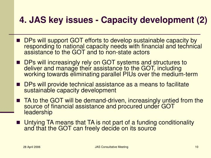 4. JAS key issues - Capacity development (2)