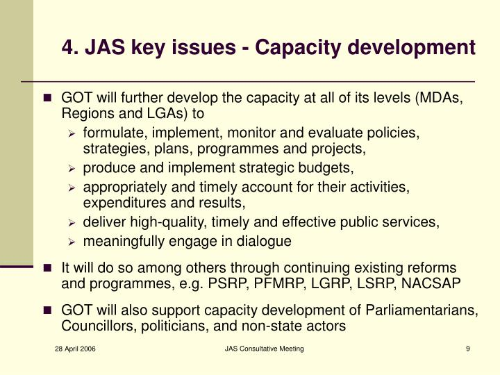 4. JAS key issues - Capacity development