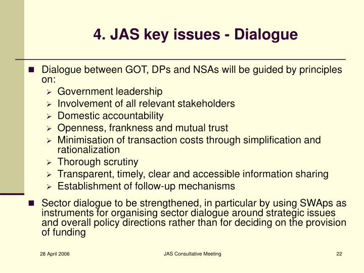 4. JAS key issues - Dialogue