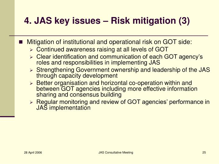 4. JAS key issues – Risk mitigation (3)
