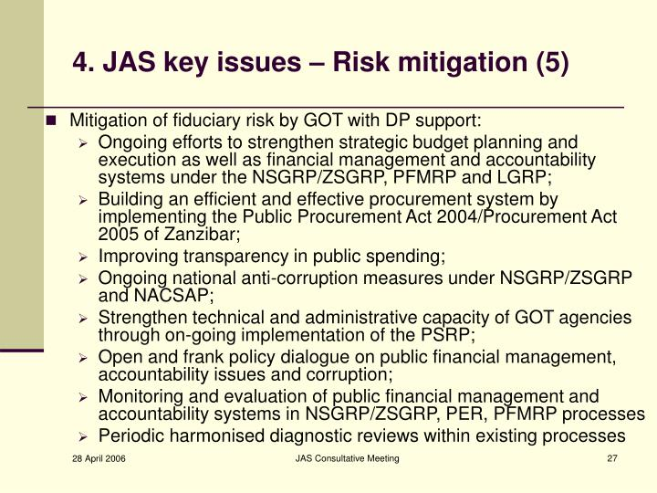 4. JAS key issues – Risk mitigation (5)