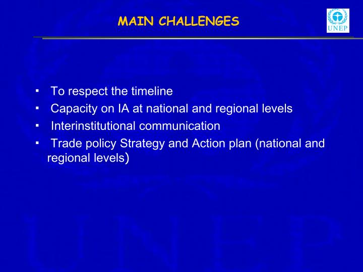 MAIN CHALLENGES