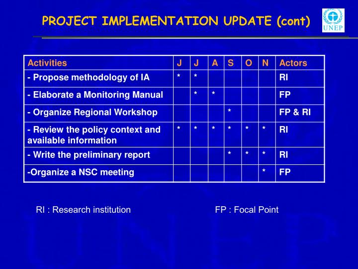 PROJECT IMPLEMENTATION UPDATE (cont)
