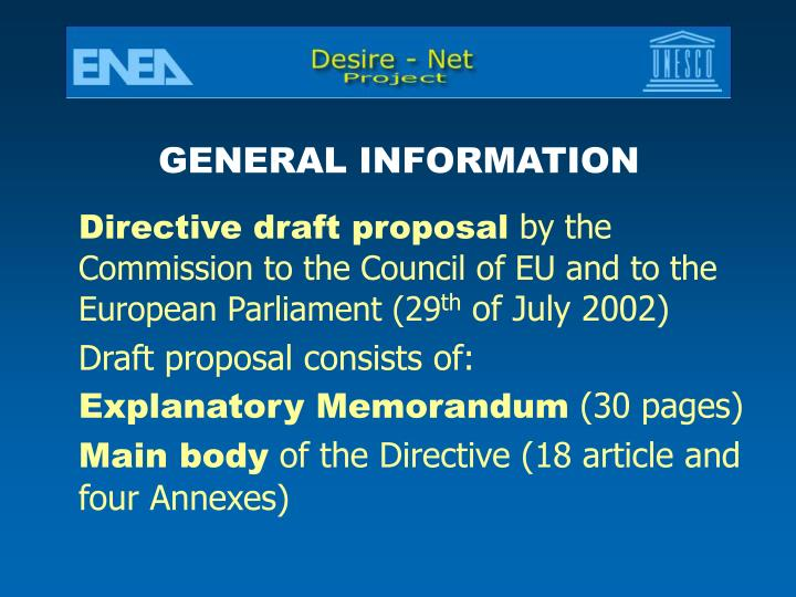 Directive draft proposal