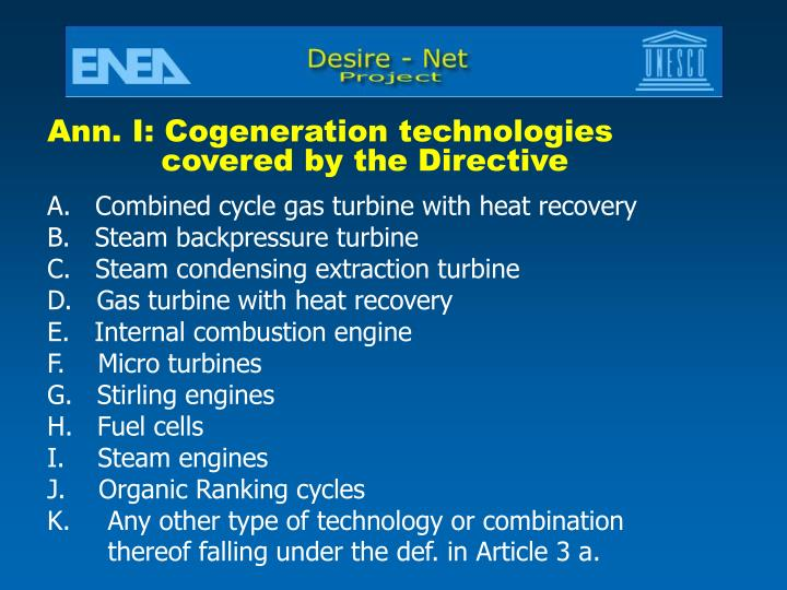 Ann. I: Cogeneration technologies