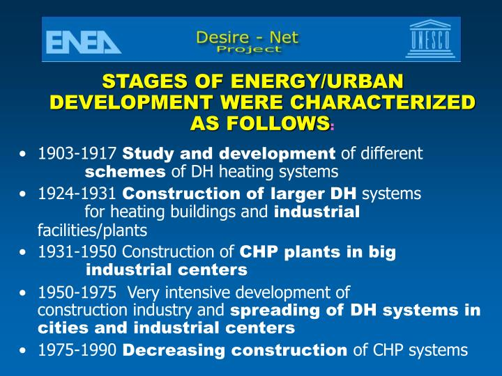 STAGES OF ENERGY/URBAN DEVELOPMENT WERE CHARACTERIZED AS FOLLOWS