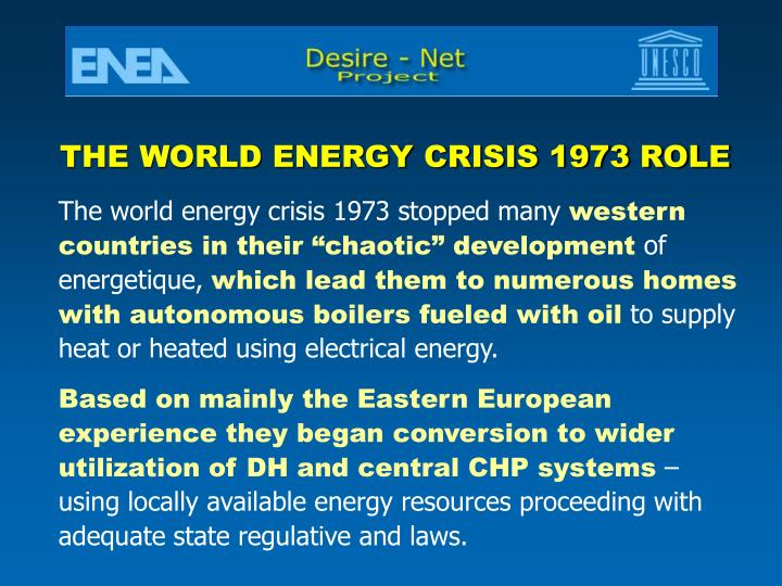 THE WORLD ENERGY CRISIS 1973 ROLE