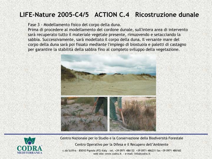 LIFE-Nature 2005-C4/5   ACTION C.4   Ricostruzione dunale