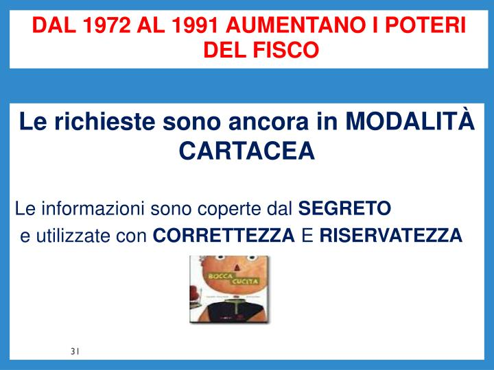 DAL 1972 AL 1991 AUMENTANO I POTERI DEL FISCO