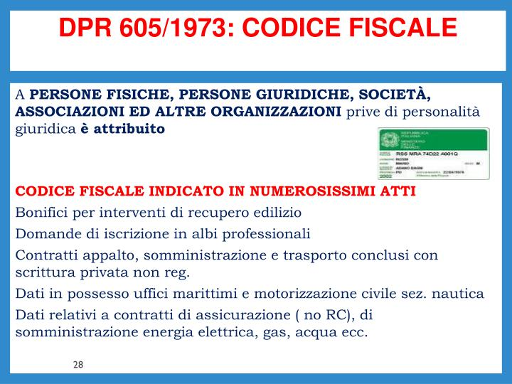 DPR 605/1973: CODICE FISCALE