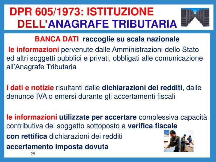 DPR 605/1973: ISTITUZIONE