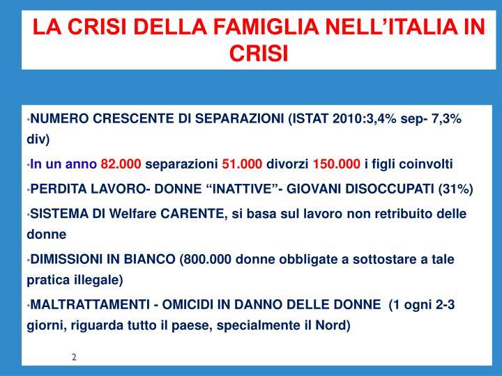 LA CRISI DELLA FAMIGLIA NELL'ITALIA IN CRISI