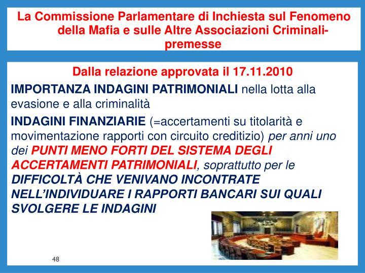 La Commissione Parlamentare di Inchiesta sul Fenomeno della Mafia e sulle Altre Associazioni Criminali- premesse