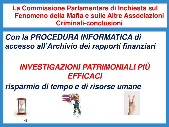 La Commissione Parlamentare di Inchiesta sul Fenomeno della Mafia e sulle Altre Associazioni Criminali-conclusioni