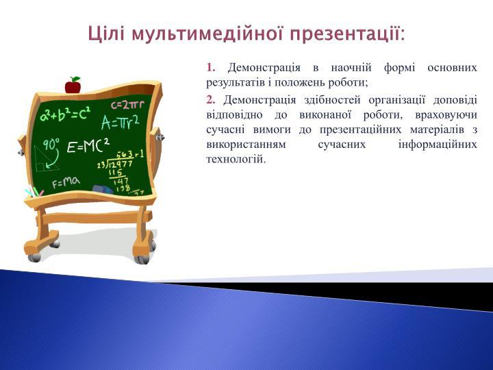 Цілі мультимедійної презентації: