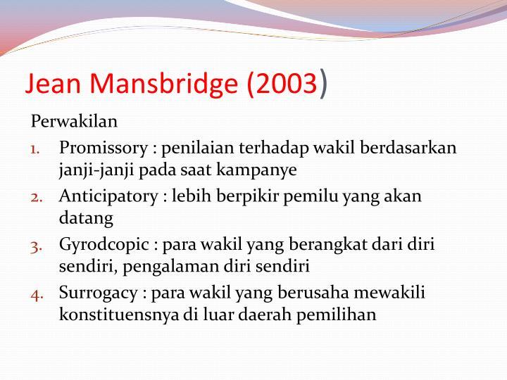 Jean Mansbridge (2003