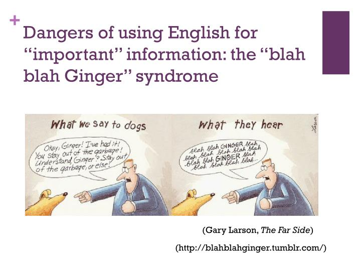 "Dangers of using English for ""important"" information: the ""blah"