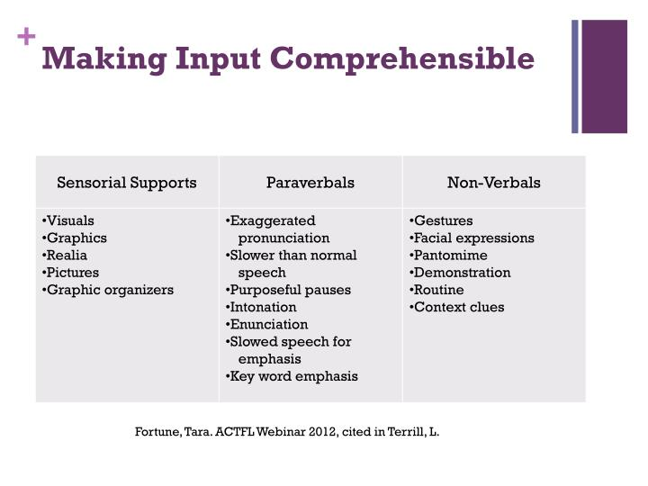 Making Input Comprehensible