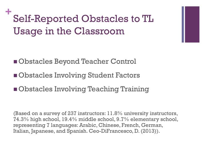 Self-Reported Obstacles to TL Usage in the Classroom