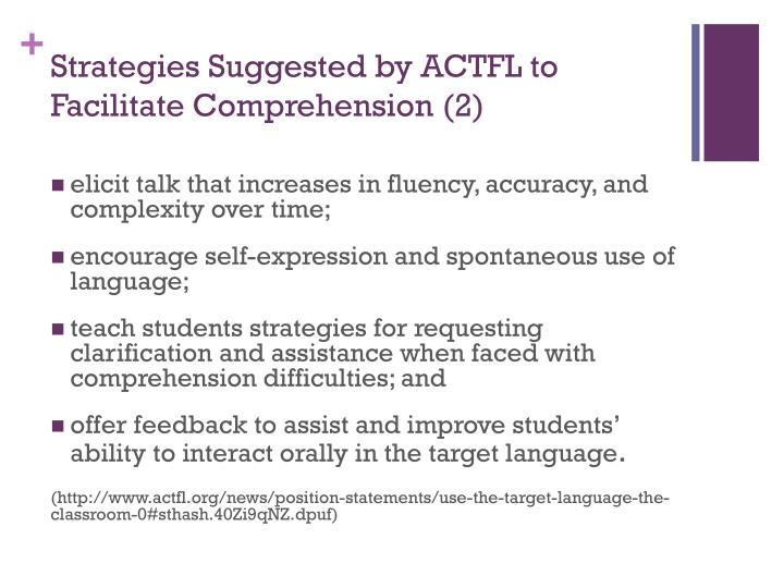 Strategies Suggested by ACTFL to Facilitate Comprehension (2)