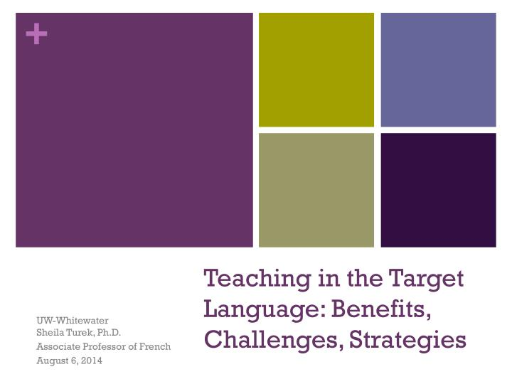 Teaching in the target language benefits challenges strategies