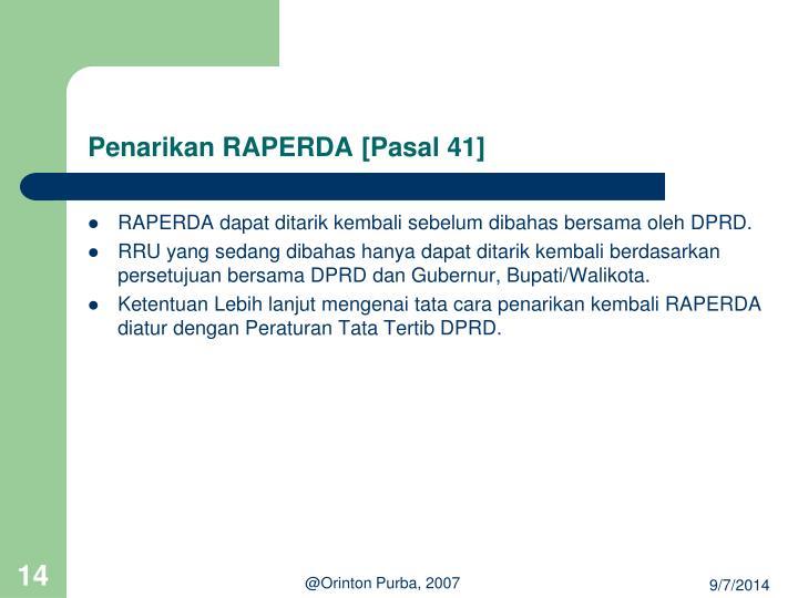 Penarikan RAPERDA [Pasal 41]
