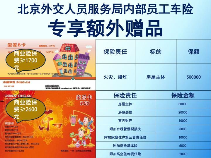 北京外交人员服务局内部员工车险