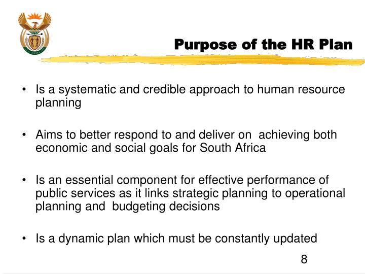 Purpose of the HR Plan