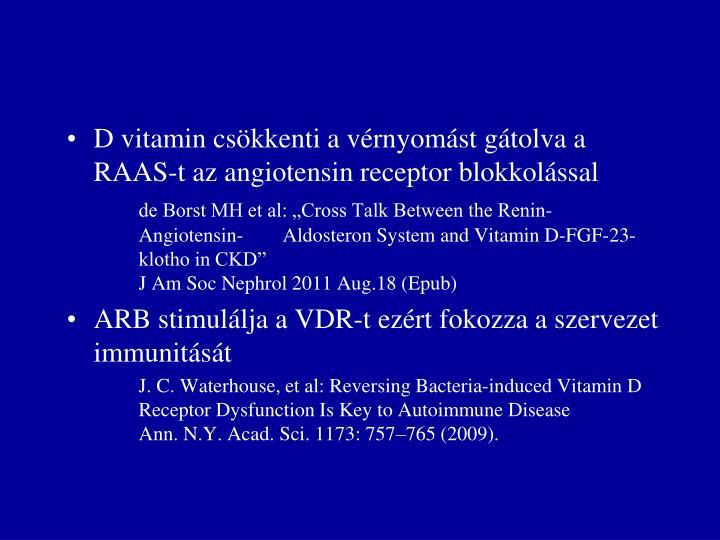 D vitamin csökkenti a vérnyomást gátolva a RAAS-t az angiotensin receptor blokkolással