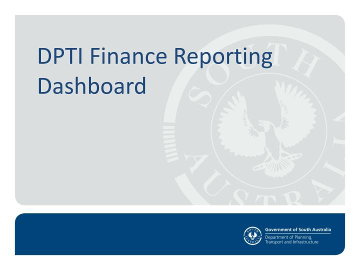 Dpti finance reporting dashboard