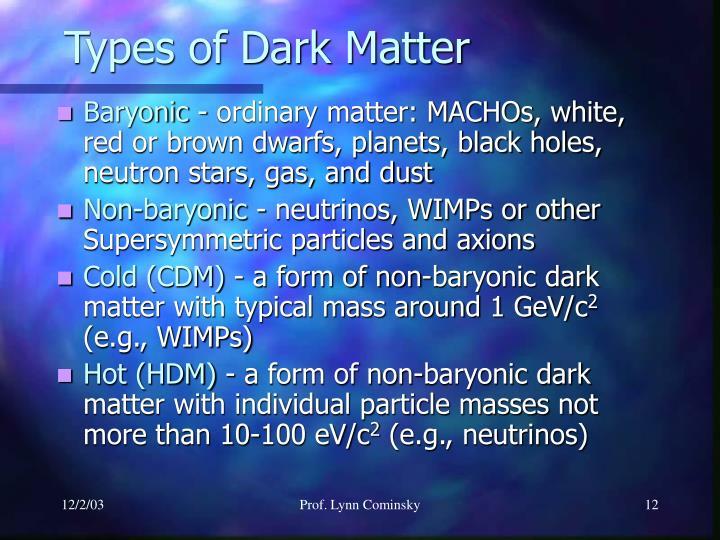 Types of Dark Matter