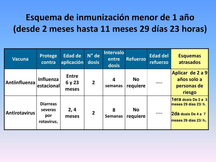 Esquema de inmunización menor de 1 año