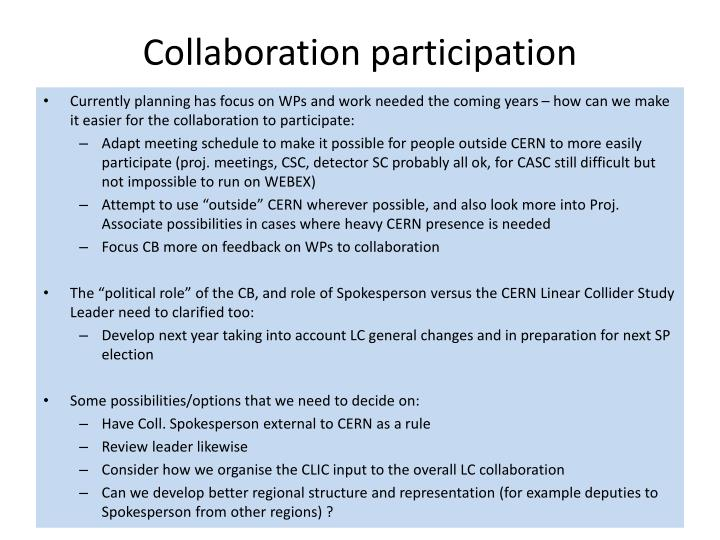 Collaboration participation