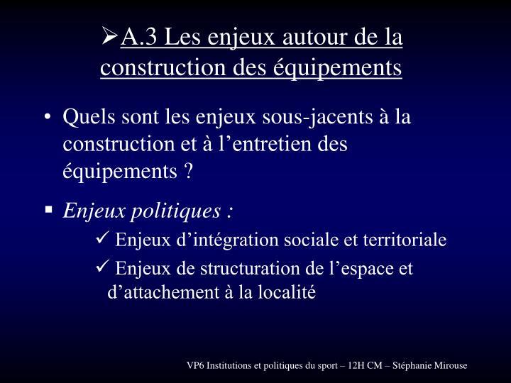 A.3 Les enjeux autour de la construction des équipements
