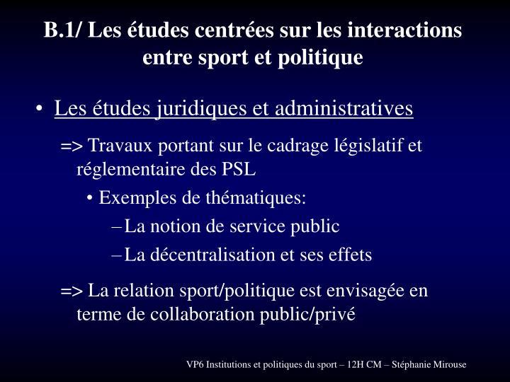 B.1/ Les études centrées sur les interactions entre sport et politique