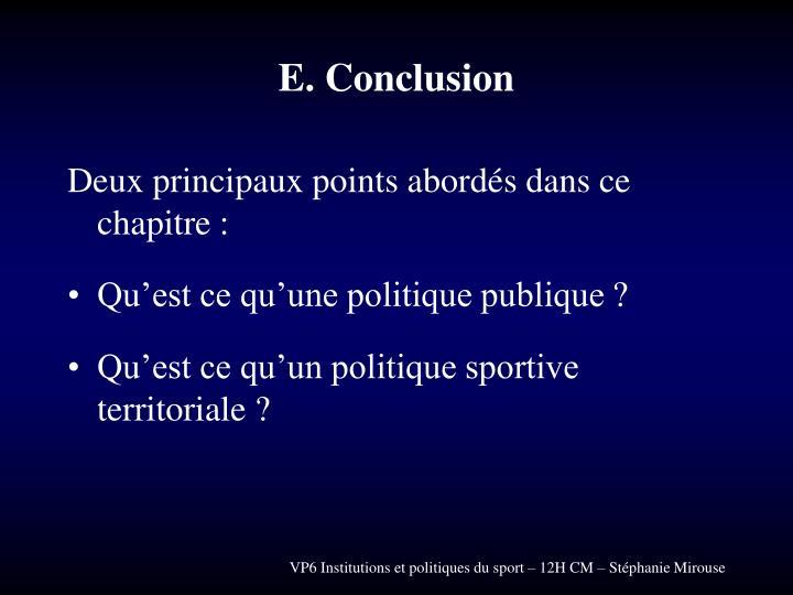 E. Conclusion
