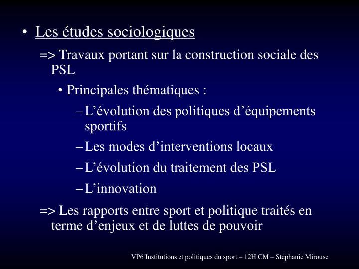 Les études sociologiques