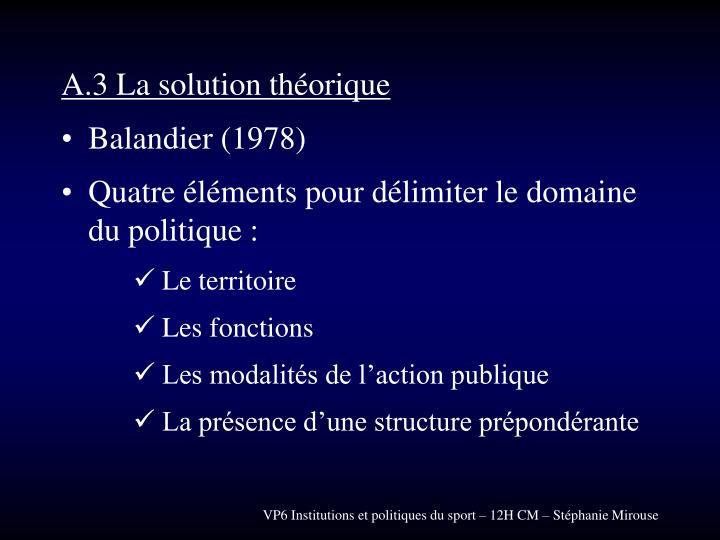 A.3 La solution théorique