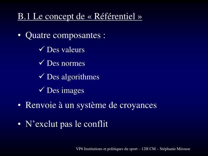 B.1 Le concept de « Référentiel »