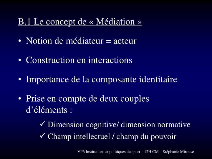 B.1 Le concept de « Médiation »