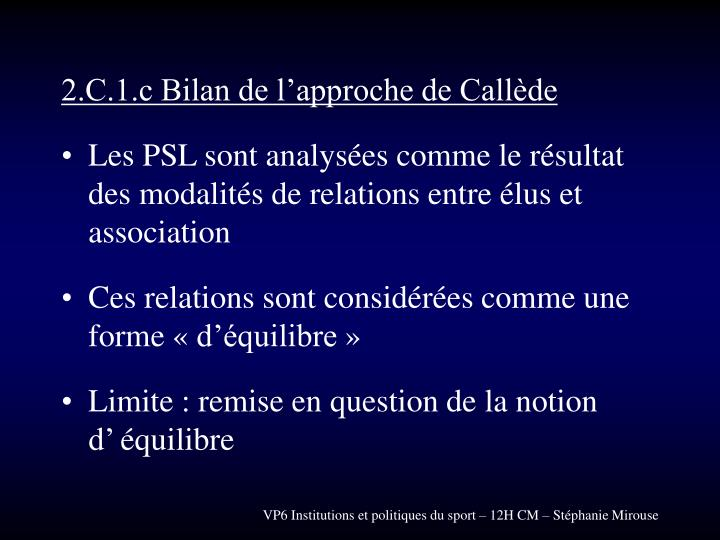 2.C.1.c Bilan de l'approche de Callède