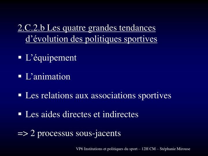 2.C.2.b Les quatre grandes tendances d'évolution des politiques sportives