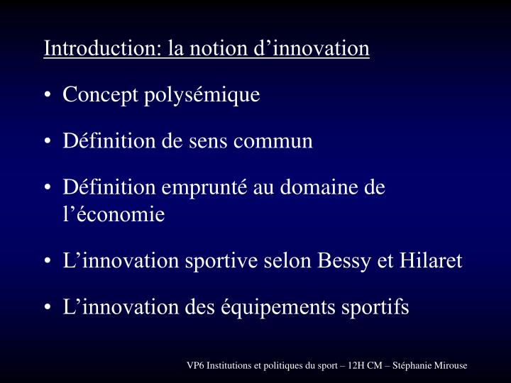 Introduction: la notion d'innovation